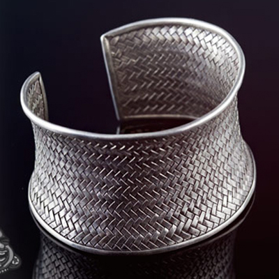 Hill Tribe silver woven cuff bracelet