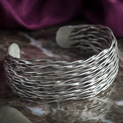 Hill tribe silver weaved cuff bracelet