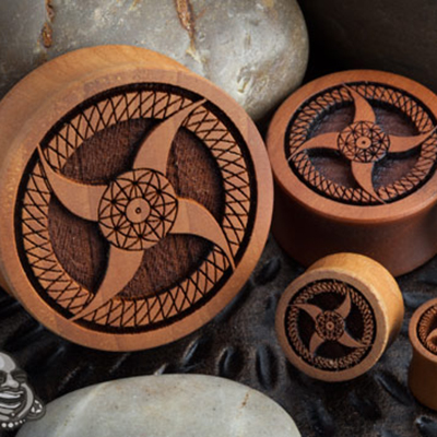 Pear Wood Pinwheel Plugs
