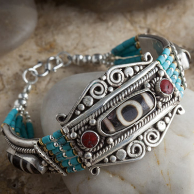 White metal bracelet with turquoise and coral