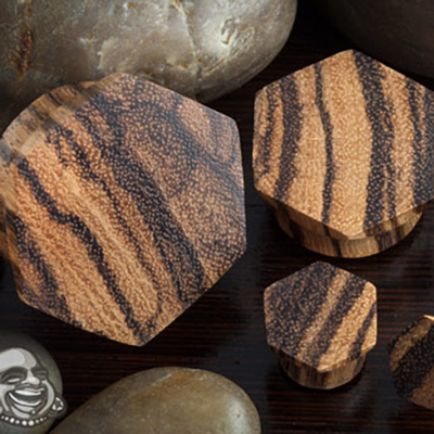 Zebrawood Hexagon Plugs
