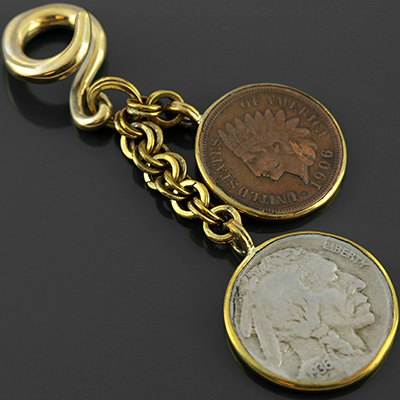 Solid brass double coin dangles