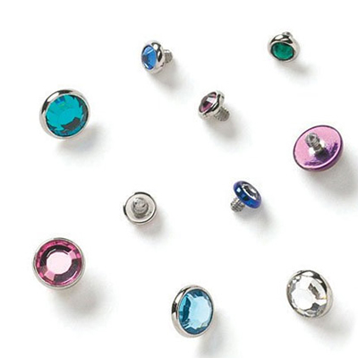 PRE-ORDER Flatback faceted gem threaded end