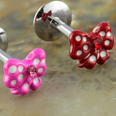 Internally Threaded Labret with Polka Dot Bow End