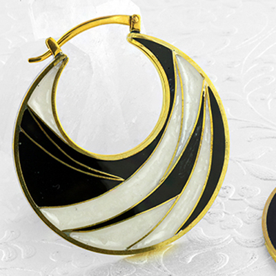 Solid Brass Enamel Inlay Hoops (Titanium Clasp)