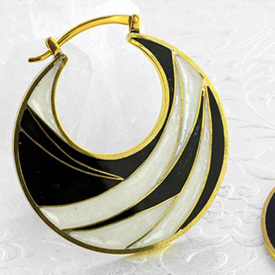 Solid brass enamel inlay hoops (titanium clasp)