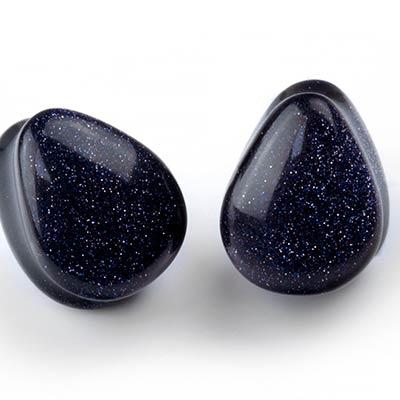 Blue Goldstone Teardrop Plugs