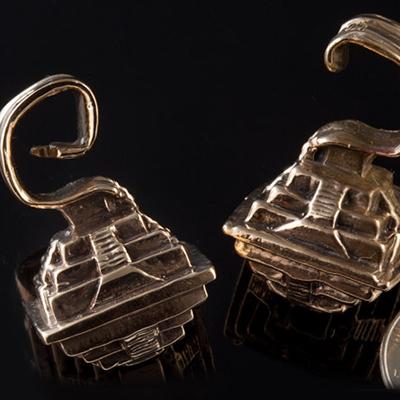 Solid bronze Aztlan Pyramid weights