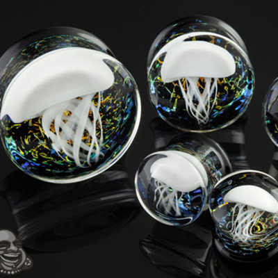 Pyrex Glass Jellyfish Plugs (White On Rainbow Galaxy)