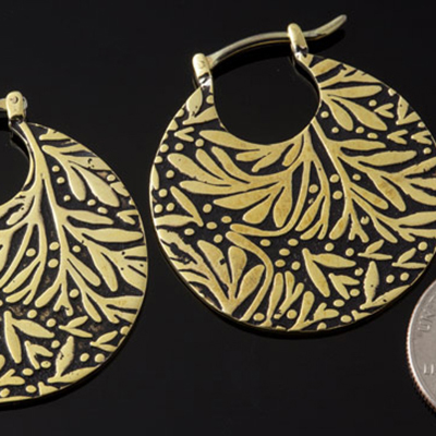Solid Brass Leaf Hoops (Titanium Clasp)