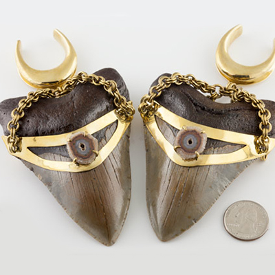 Solid brass and megalodon teeth weights with spreader hooks