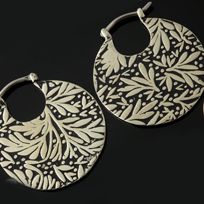 Solid white brass Leaf hoops (titanium clasp)
