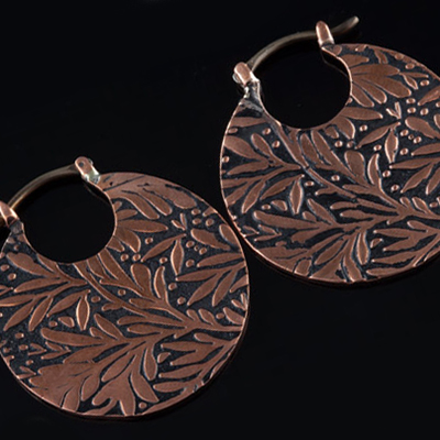 Solid copper Leaf hoops (titanium clasp)