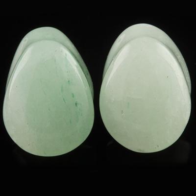 Green Aventurine Teardrop Plugs