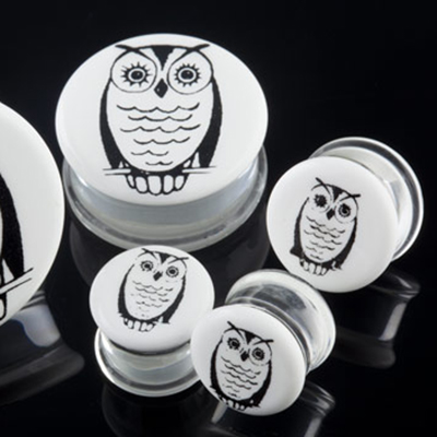 Pyrex glass owl plugs (Black on white)