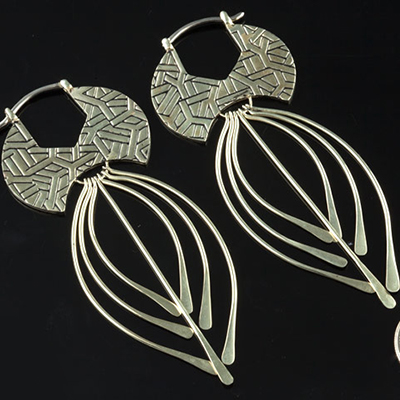 Solid White Brass Spike Hoops (Titanium Clasp)