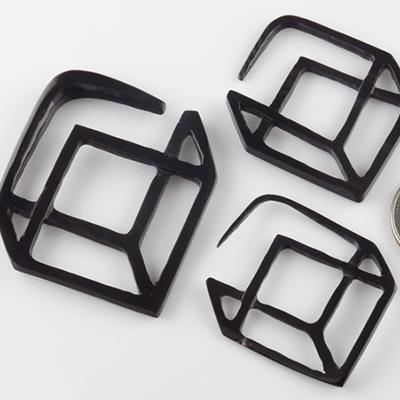 Black horn cube hoops
