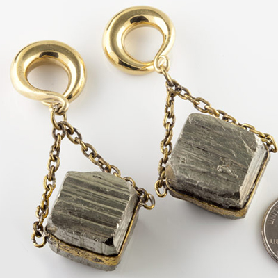 Solid brass and pyrite cube weights