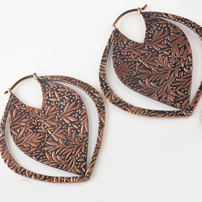 Solid copper  Devil Leaf hoops (titanium clasp)
