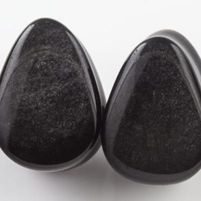 Silver obsidian teardrop plugs