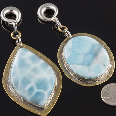 Distressed brass and silver weights with larimar