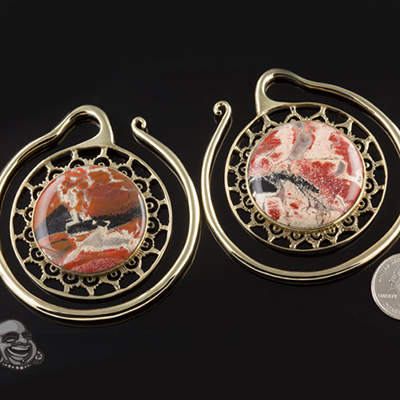 Solid brass Puj Ju hoops with brecciated jasper