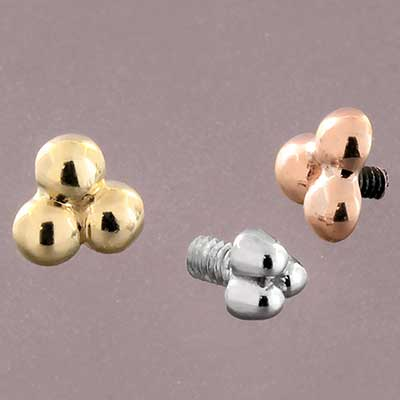 14k Gold 3 Bead Cluster Threaded End