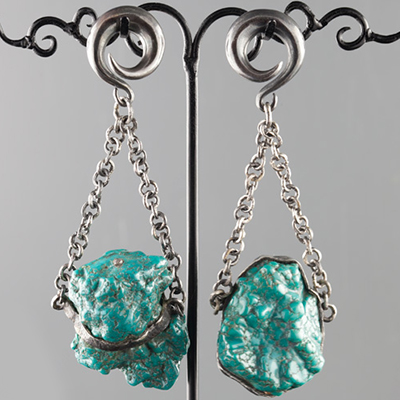 Oxidized silver and genuine turquoise nugget weights