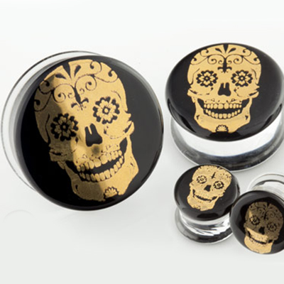 Pyrex Glass Sugar Skull Plugs (Gold On Black)