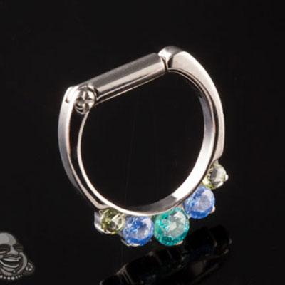 Titanium Odyssey Septum Clicker with Five Gems