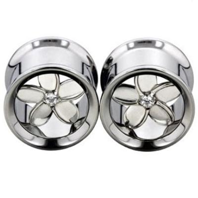 PRE-ORDER Steel eyelet with silver plumeria