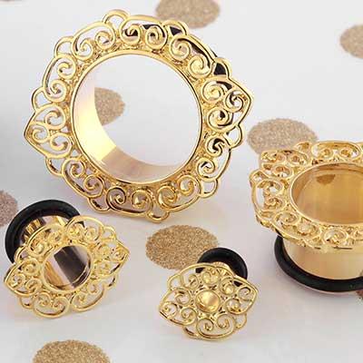 Gold Colored Filigree Eyelet