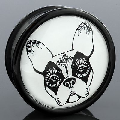 Day of the Dead French Bulldog Plug (Black On White)