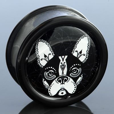 Day of the dead bulldog plug (White on black)