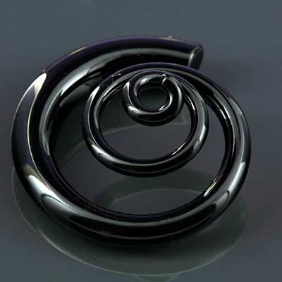 Pyrex Glass 3d Spirals (Midnight Black)
