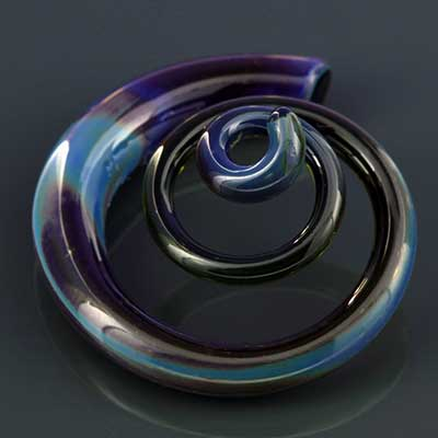 Pyrex Glass 3d Spirals (Mystic Blue)