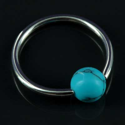 Steel Captive with Synthetic Turquoise Bead