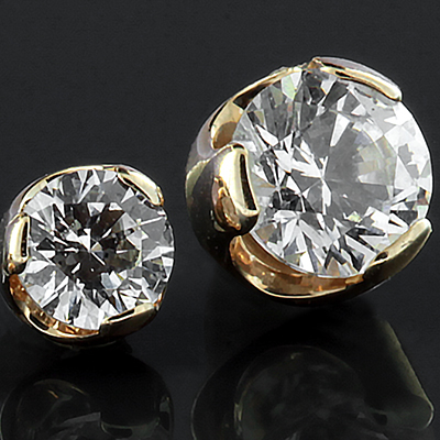 18k Yellow Gold Prong Set Gem End