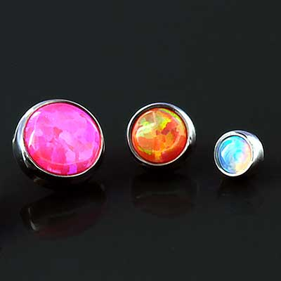 Titanium Bezel Set Cabochon Threaded Ends