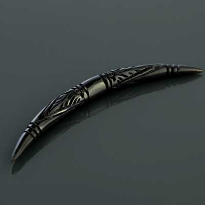 Black Horn Carved Septum Tusk