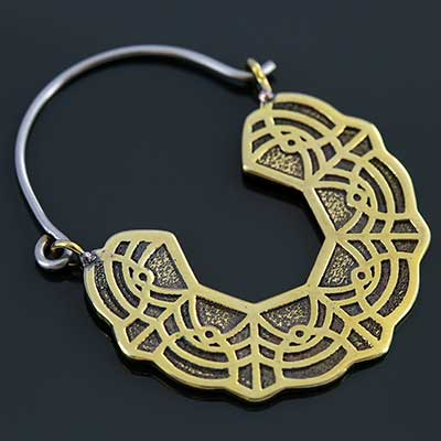 Brass Lace hoop earrings