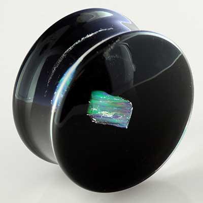 Raw Opal Plugs with Black Backs