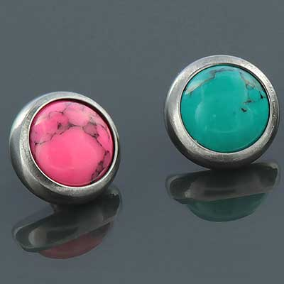 Titanium Bezel Set Stone Cabochon Threaded End