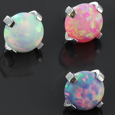 Steel Prong Set Opal Threaded End