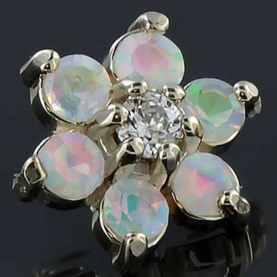 Internally Threaded 18k Gold Flower End (Faceted CZ/White Opal)