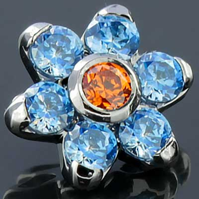 Titanium Gemmed Flower Threaded End (Tanzanite Cz/Amber Cz)