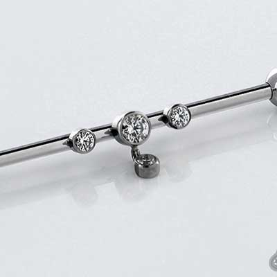 Titanium Industrial Barbell with 3 Bezel Set Gems and Dangle