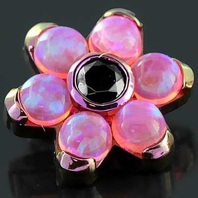 Fuchsia Titanium Gemmed Flower Threaded End (Hot Pink Opal #55/Black Cz)