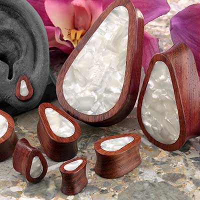 Bloodwood teardrop plugs with mother of pearl inlays