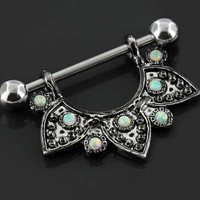Half mandala nipple stirrup with opals